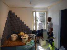 Gipserarbeiten / Abrieb weiss eingefärbt nach Badzimmerumbau, Batastrasse in Möhlin